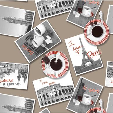 Tovaglia INSPIRE Postcards marrone 160x160 cm