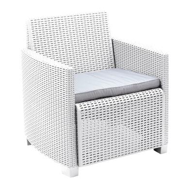 Poltrona da giardino con cuscino 2 posti in polipropilene Lipari colore bianco