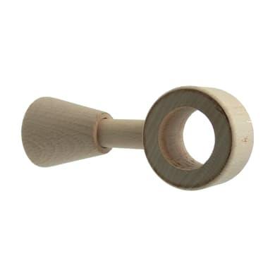 Supporto singolo chiuso Ø28mm Aosta in legno faggio grezzo 12cm