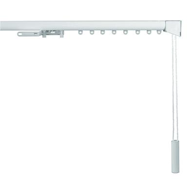 Binario per tenda arricciata, singolo, cordone, grigio / argento, in alluminio, 150 cm