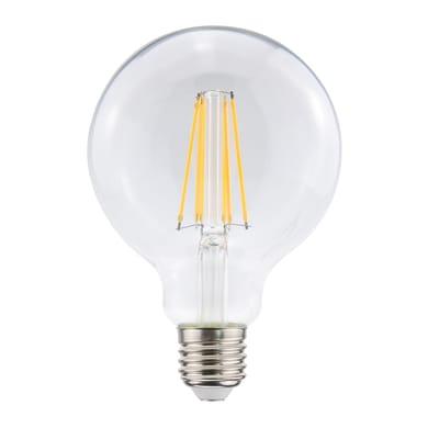 Lampadina LED filamento E27, Globo, Trasparente, Bianco, Luce calda, 8W=1055LM (equiv 75 W), 360° , LEXMAN