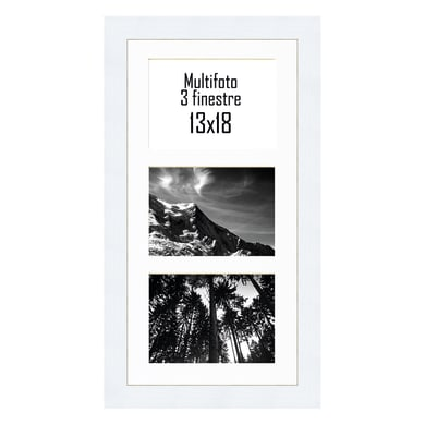 Cornice Maussane per 3 fotografie 13 x 18  bianco<multisep/>bianco