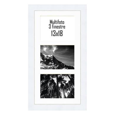 Cornice Maussane per 3 fotografie 13 x 18  bianco