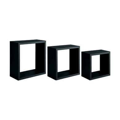 Mensola a cubo Spaceo L 30 x H 27 cm, Sp 12 mm nero