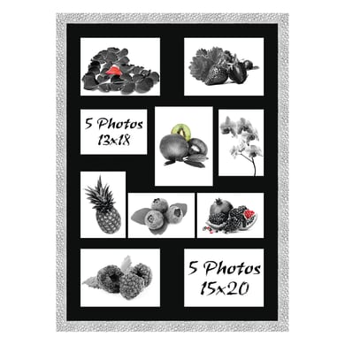 Cornice New York per 10 fotografie 13 x 18 argento<multisep/>nero