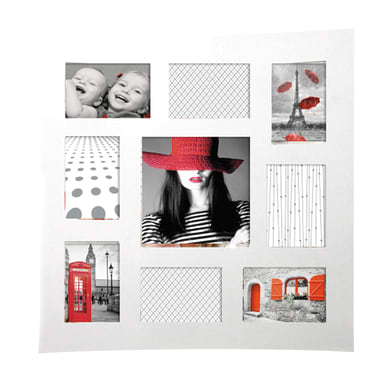 Cornice multifoto Onda bianco 9 foto