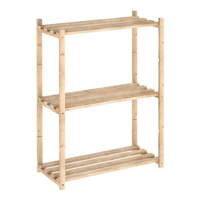 Scaffale in legno in kit L 65 x P 30 x H 88 cm naturale