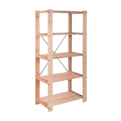 Scaffale in legno in kit L 76.7 x P 43 x H 174.2 cm naturale