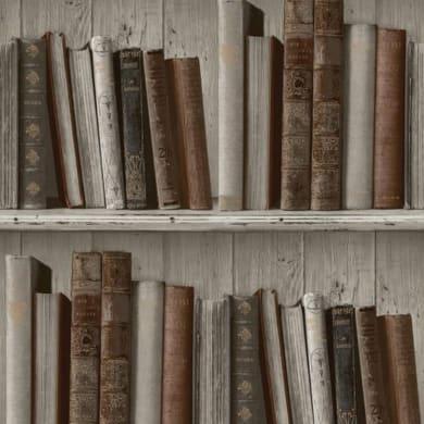 Carta da parati Libreria shabby grigio, 53 cm x 10 m