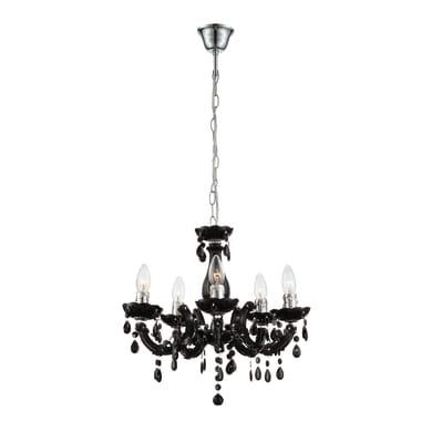 Lampadario Barocco Cuimbra2 nero in acrilico, D. 44 cm, 5 luci