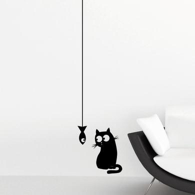 Sticker Cat & Fish 15.5x34 cm