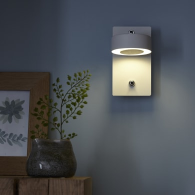 Applique CCT Egio bianco, in metallo, 8.0x14.5 cm, Diodi LED integrati 5.0W IP20 INSPIRE