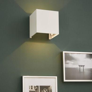 Applique design Kubbo bianco, in alluminio,  D. 10.0 cm 10.0x4.5 cm, INSPIRE