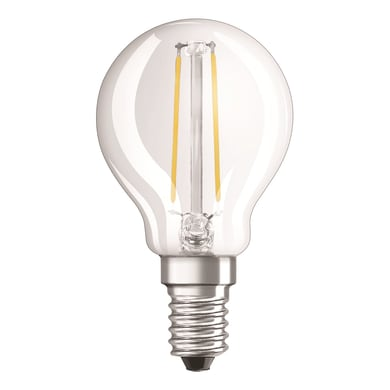 Lampadina LED filamento, E14, Sferico, Trasparente, Luce calda, 1.6W=136LM (equiv 15 W), 320° , OSRAM