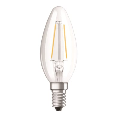 Lampadina LED filamento, E14, Oliva, Trasparente, Luce calda, 3W=250LM (equiv 25 W), 320° , OSRAM