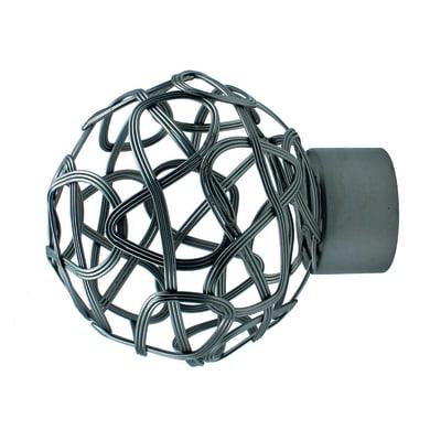 Finale per bastone Ø20mm Nilo sfera in acciaio bianco lucido INSPIRE Set di 2 pezzi