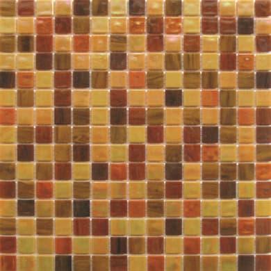 Mosaico Patchwork H 32.7 x L 32.7 cm rosso, giallo, arancione