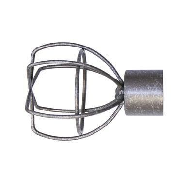 Finale per bastone Ø20mm Kama cilindro in acciaio grigio anticato INSPIRE