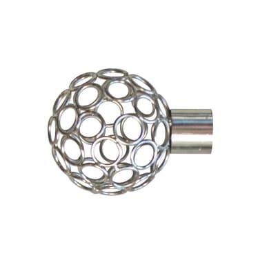Finale per bastone Ø25mm Loft sfera in acciaio grigio satinato