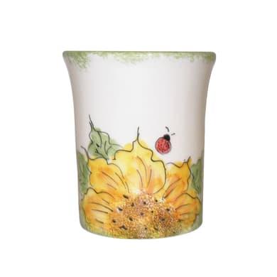 Bicchiere porta spazzolini Girasole in ceramica giallo