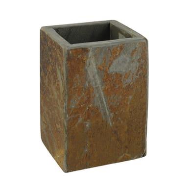 Bicchiere porta spazzolini Heavy rock in pietra marrone