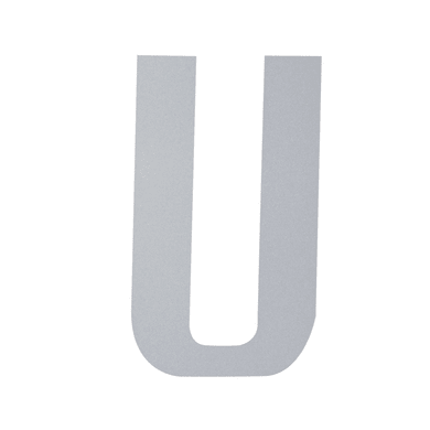 Lettera U adesivo, 10 x 6 cm