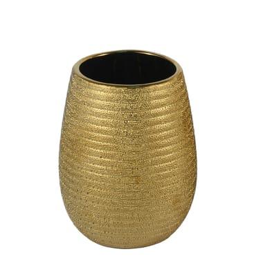 Bicchiere porta spazzolini Iris in ceramica oro