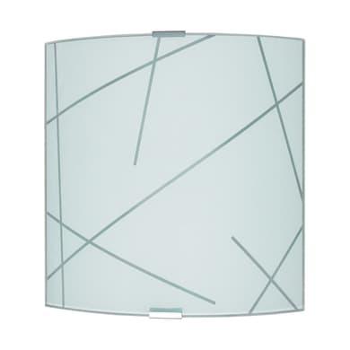 Applique classico Even grigio, alluminio e acciaio, in vetro, 26x26 cm, LUMICOM