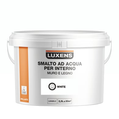 Vernice di finitura LUXENS Bimano base acqua bianco lucido 2.5 L