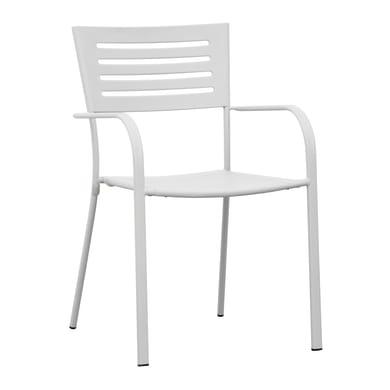 Sedia con braccioli in ferro CHF 16B colore bianco