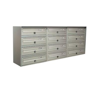 Casellario postale condominiale formato Rivista, argento metallizzato, L 116 x P 30 x H 50 cm