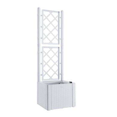 Fioriera Natural Deluxe con grigliato STEFANPLAST in plastica bianco H 142 , L 43 X P 43 cm