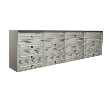 Casellario postale condominiale formato Rivista, argento metallizzato, L 154.5 x P 30 x H 50 cm