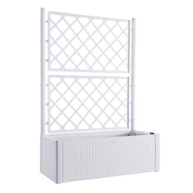 Fioriera per orto alta Natural Deluxe con grigliato STEFANPLAST in plastica bianco H 142 , L 100 X P 43 cm