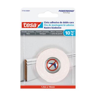 Nastro bi-adesivo TESA Muro, intonaco, carta da parati 1.5 m x 95 mm bianco