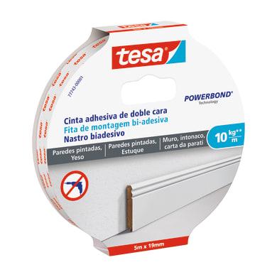 Nastro bi-adesivo TESA 5 m x 19 mm bianco