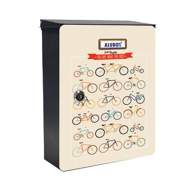 Cover per cassetta postale ALUBOX Mia Biciclette in lamiera in acciaio L 27 x H 37 cm