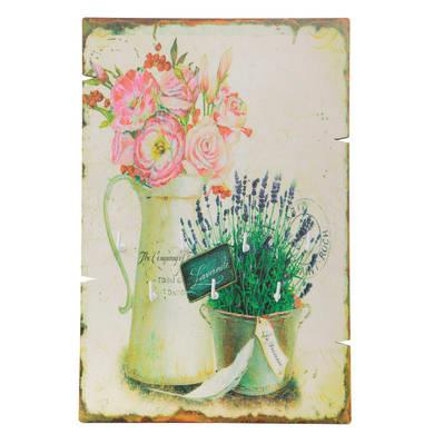 Bacheca portachiavi Fiori 7 ganci multicolore 200 x 10 mm x 30 cm