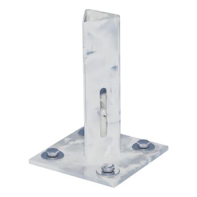 Supporto per palo FERRO BULLONI in acciaio galvanizzato da fissare grigio L 100x H 15