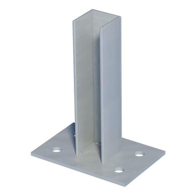 Piastra di montaggio in acciaio galvanizzato plastificato Supporto zincato per palo quadro L 10 x P 15 x x H 21 cm