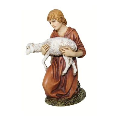 Pastore con agnello in resina  H 10 cm