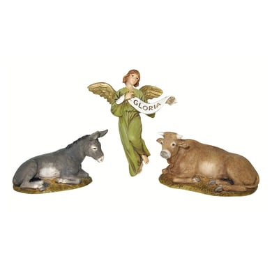 Bue, asino e angelo in resina 3 pezzi H 10 cm