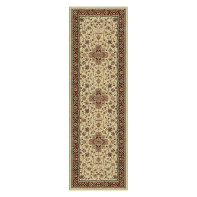 Tappeto persiano Hereke 333 in viscosa, crema, 67x210 cm