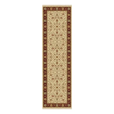 Tappeto persiano Hereke 332 in viscosa, crema, 67x210 cm