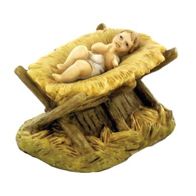 Gesù bambino con culla in resina  H 10 cm