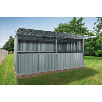 Chiosco in metallo Daikiri 2 ribalte c/mensole,  superficie interna 12.7 m² e spessore parete 0.4 mm