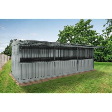 Chiosco in metallo Daikiri 3 ribalte c/mensole,  superficie interna 19.13 m² e spessore parete 0.4 mm