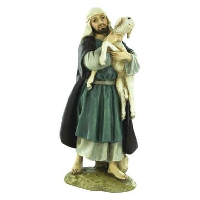 Pastore con pecora in resina  H 12 cm