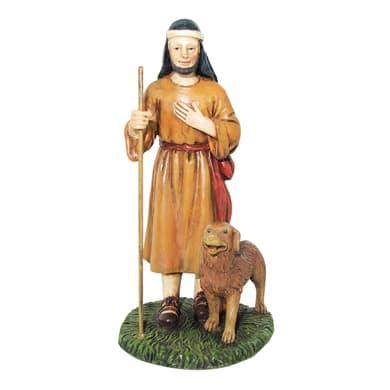 Pastore con cane in resina  H 12 cm