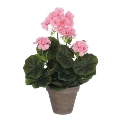 Pianta artificiale Geranio rosa in vaso H 35 cm